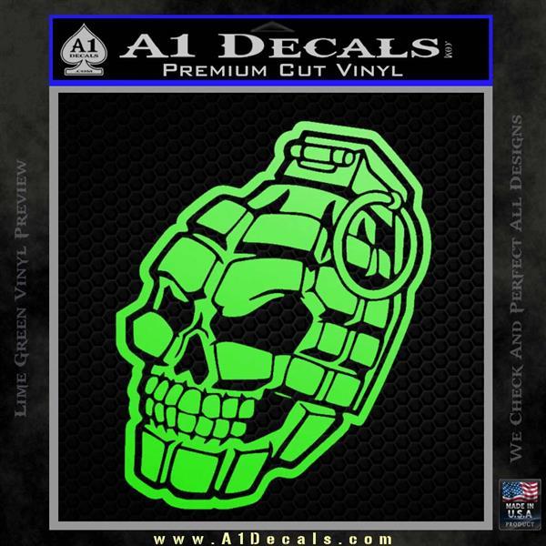 3D Skull Grenade Decal Sticker Lime Green Vinyl