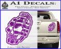 3D Skull Grenade Decal Sticker Purple Vinyl 120x97