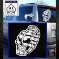 3D Skull Grenade Decal Sticker White Emblem 120x120