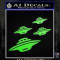 4 UFOs Alien Decal Sticker Spaceships Lime Green Vinyl 120x120