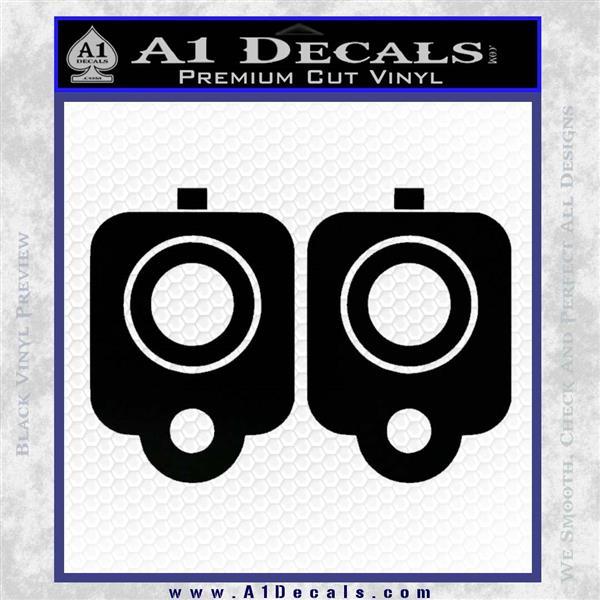 9mm Muzzle Pistol Gun Barrel Decal Sticker Black Logo Emblem