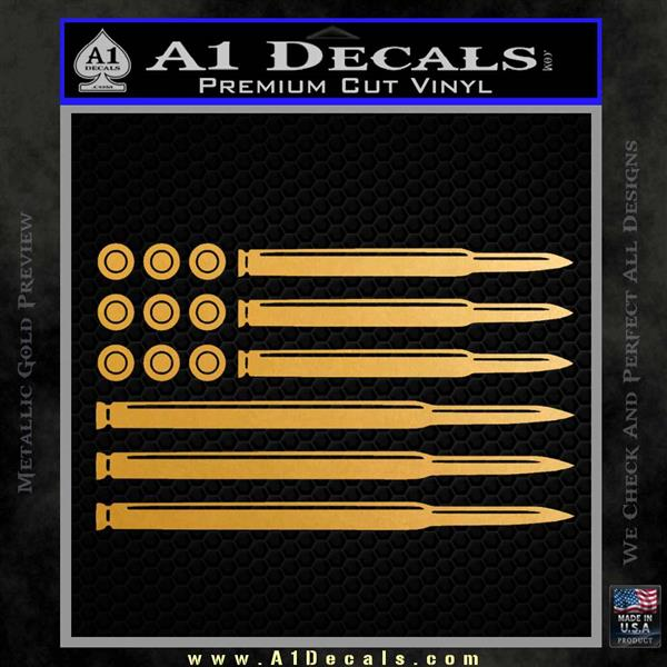 American Flag Bullets Decal Sticker Metallic Gold Vinyl Vinyl