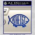 Athiest Jesus Fish Decal Sticker d6 Blue Vinyl 120x120