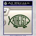 Athiest Jesus Fish Decal Sticker d6 Dark Green Vinyl 120x120