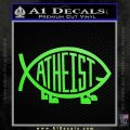 Athiest Jesus Fish Decal Sticker d6 Lime Green Vinyl 120x120