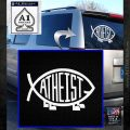 Athiest Jesus Fish Decal Sticker d6 White Emblem 120x120