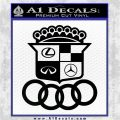 Audi Infinity Lexus Mercedes Cadillac BMW Decal Sticker Mashup Black Logo Emblem 120x120