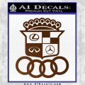 Audi Infinity Lexus Mercedes Cadillac BMW Decal Sticker Mashup Brown Vinyl 120x120