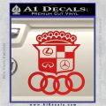 Audi Infinity Lexus Mercedes Cadillac BMW Decal Sticker Mashup Red Vinyl 120x120
