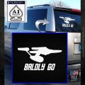 Baldly Go USS Enterprise Decal Sticker White Emblem 120x120