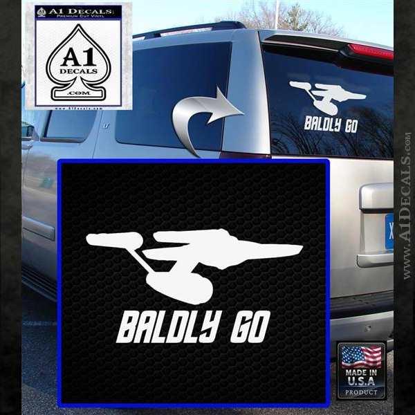Baldly Go USS Enterprise Decal Sticker White Emblem