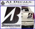 Bridgestone Tires Logo Decal Sticker Stacked Carbon Fiber Black 120x97