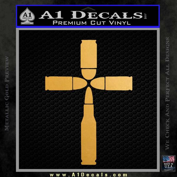 Bullet Cross Crucifix Decal Sticker D4 Metallic Gold Vinyl Vinyl