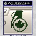 Canada Maple Leaf Grenade Decal Sticker Dark Green Vinyl 120x120