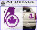 Canada Maple Leaf Grenade Decal Sticker Purple Vinyl 120x97