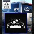 Cookie Monster Peeking Decal Sticker White Emblem 120x120