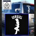 Cowgirl Leaning Decal Sticker White Emblem 120x120