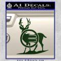 Deer In Bow Sights Decal Sticker Dark Green Vinyl 120x120