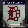 Detroit Brass Knuckles Decal Sticker Dark Red Vinyl 120x120