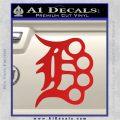 Detroit Brass Knuckles Decal Sticker Red Vinyl 120x120
