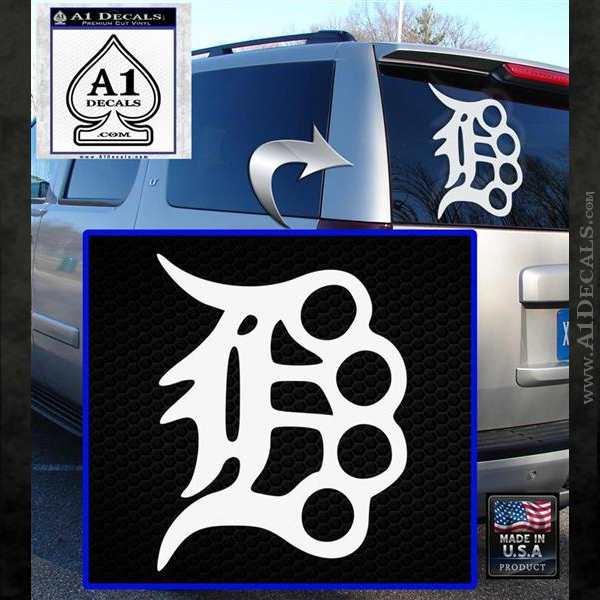 Detroit Brass Knuckles Decal Sticker White Emblem