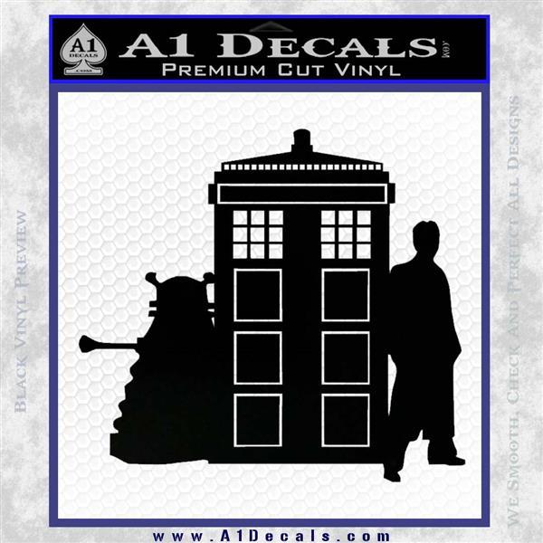 Doctor Who TARDIS Dalek INT Decal Sticker Black Logo Emblem 1