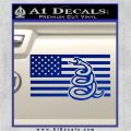 Dont Tread On Me Gadsden Snake American Flag Decal Sticker Blue Vinyl 120x120