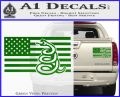 Dont Tread On Me Gadsden Snake American Flag Decal Sticker Green Vinyl 120x97