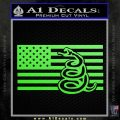 Dont Tread On Me Gadsden Snake American Flag Decal Sticker Lime Green Vinyl 120x120