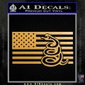 Dont Tread On Me Gadsden Snake American Flag Decal Sticker Metallic Gold Vinyl 120x120
