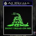 Dont Tread On Me Snake Intricate Decal Sticker Lime Green Vinyl 120x120