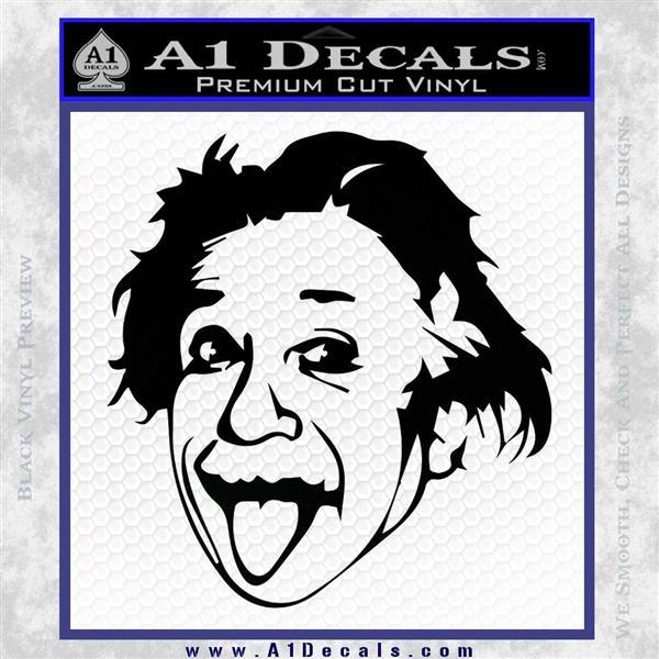 Einstein Sticking Tongue Out Decal Sticker Black Logo Emblem