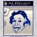 Einstein Sticking Tongue Out Decal Sticker Blue Vinyl 120x120