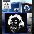 Einstein Sticking Tongue Out Decal Sticker White Emblem 120x120
