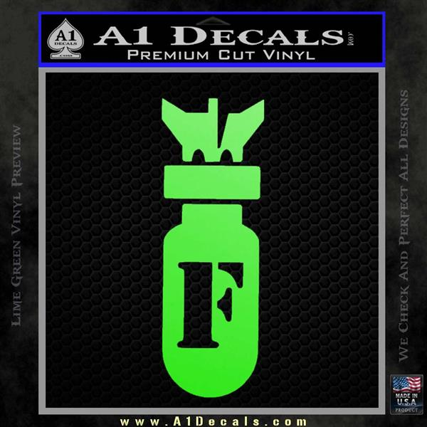 F Bomb D2 Decal Sticker Lime Green Vinyl