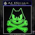 Felix The Cat Crossbones Decal Sticker Lime Green Vinyl 120x120
