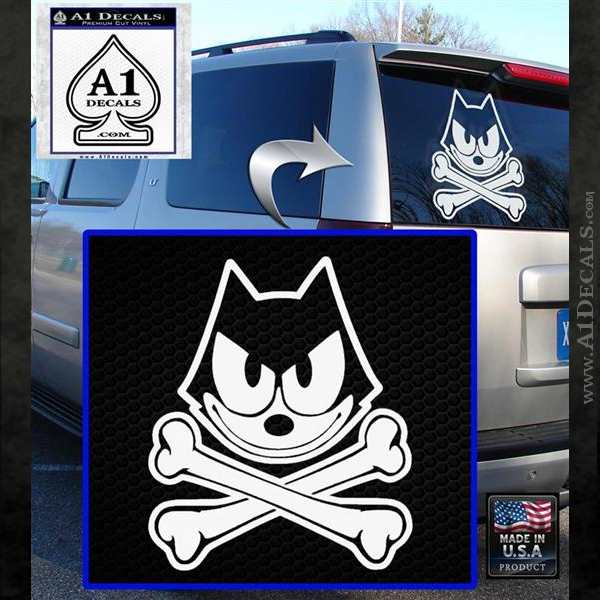 Felix The Cat Crossbones Decal Sticker White Emblem