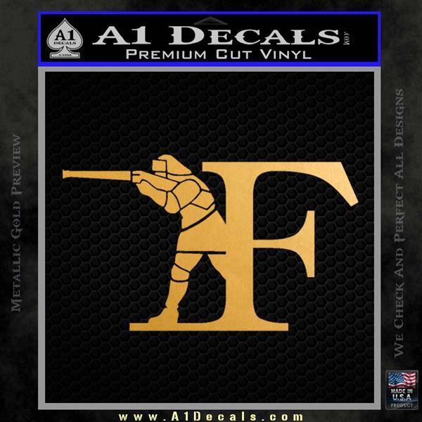 Franchi Firearms F Decal Sticker Metallic Gold Vinyl