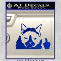 GRUMPY CAT MIDDLE FINGER VINYL DECAL STICKER Blue Vinyl 120x120