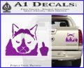 GRUMPY CAT MIDDLE FINGER VINYL DECAL STICKER Purple Vinyl 120x97