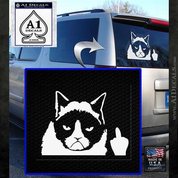 GRUMPY CAT MIDDLE FINGER VINYL DECAL STICKER White Emblem