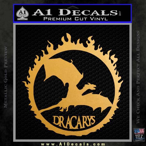 Game Of Thrones Dracarys Decal Sticker Metallic Gold Vinyl
