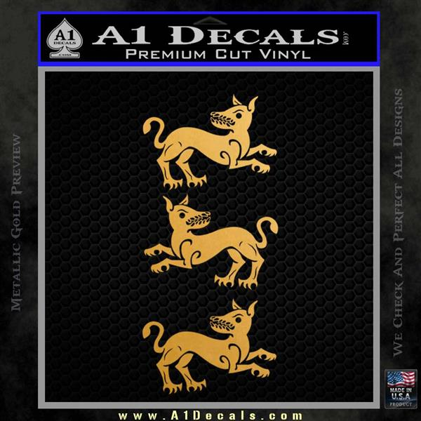 Game of Thrones House Clegane D3 Decal Sticker Metallic Gold Vinyl Vinyl