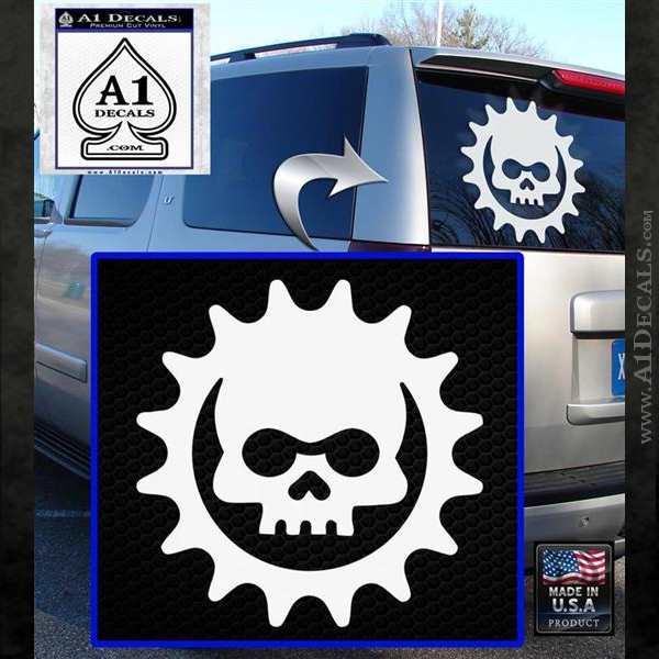 Gears of War Skull D2 Decal Sticker White Emblem