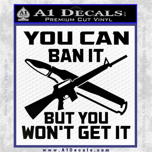 Gun Ban Decal Sticker SQ Black Logo Emblem
