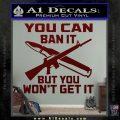 Gun Ban Decal Sticker SQ Dark Red Vinyl 120x120
