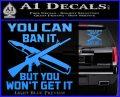 Gun Ban Decal Sticker SQ Light Blue Vinyl 120x97