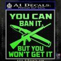 Gun Ban Decal Sticker SQ Lime Green Vinyl 120x120