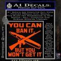 Gun Ban Decal Sticker SQ Orange Vinyl Emblem 120x120