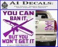 Gun Ban Decal Sticker SQ Purple Vinyl 120x97